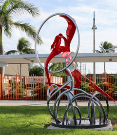 "Image of large outdoor sculpture entitled, ""Leap"""