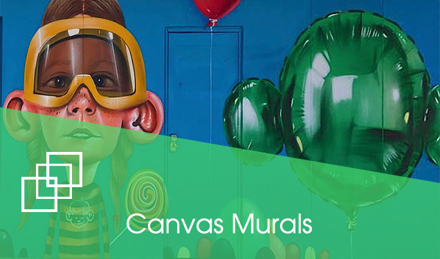 Image of a mural and the text Canvas Murals